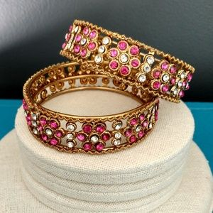Jewelry - Pair of pink & clear crystal bangles
